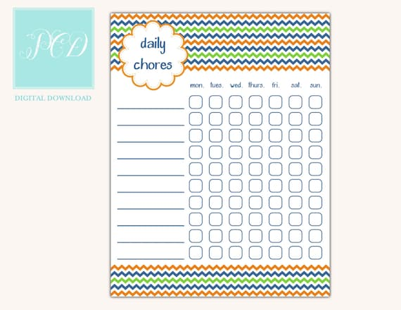 Printable Chore Chart - Instant Download