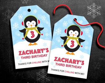 Personalized Penguin Party Favor Tags – DIY Printable – Hang Tags – Penguin Boy (Digital File)