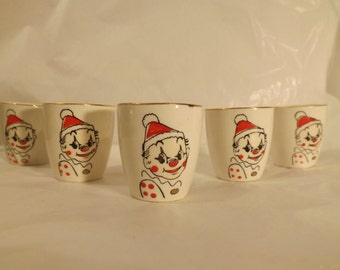 FREE SHIPPING vintage porcelain clown cups 5 total (Vault 21)
