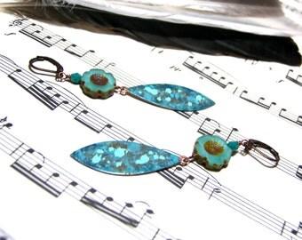 Turquoise Flower Earrings Hand Painted Earrings Aqua Blue Boho Gift for Her Christmas Gift for Women
