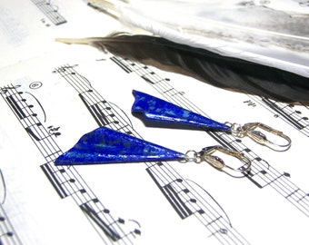 Hand Painted Triangle Earrings Cobalt Blue Earrings Gift Ideas Textured Earrings Most Popular Jewelry