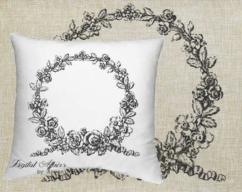 Digital Download Livingroom Collection Vintage Flower Frame Black & White Image For Papercrafts, Transfer, Pillows, Totes, Etc va025