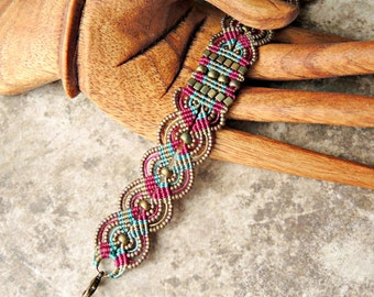 Plaid Micro Macrame Bracelet - Beaded Macrame - Macrame Bracelet