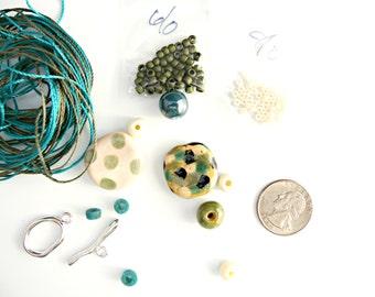 Teal and Olive Wrap Kit 14 - Micro Macrame Wrap Bracelet Kit -  Kazuri Beads - DIY - Artisan Ceramic Tube Bead
