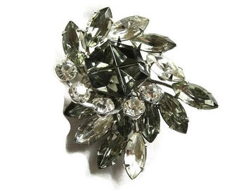Vintage Dark Smoke and Clear Rhinestones Layered Spray Brooch or Pin
