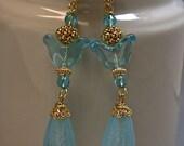 RESERVE MARIANNE Vintage Japanese Aqua Teardrop Glass Bead Earrings,Vintage German Glass Tulip, Ball24K gold