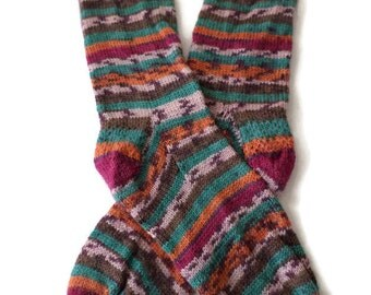 Socks - Hand Knit Men's Brown, Green and Rust Socks - Size 9-10 - Casual Socks