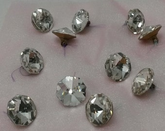 Glass Rhinestone Buttons - Set of 11