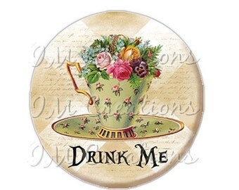 """35% OFF - Pocket Mirror, Magnet or Pinback Button - Wedding Favors, Party themes - 2.25""""- Alice In Wonderland Tea Time MR269"""