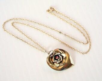 Red Rhinestone Floral Pendant Necklace Vintage Heart Shaped Leaf Pendant Goldtone