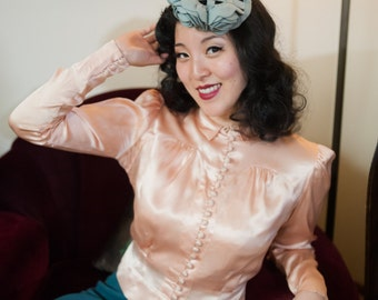 Vintage 1930s Blouse - Glamorous Charmeuse Pink Satin 30s Cocktail Top with Full Length Sleeves, Deco Seam Work and Covered Buttons