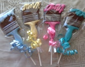 Chocolate paint brush lollipops