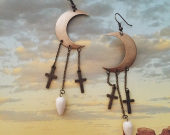 Crescent Moon and Cross Earrings