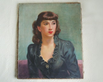 """Vintage 1949 Mid Century Painting Portrait of a Lady by Samuel Wainwright 20""""x24"""" Wall Decor"""