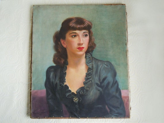 """Reserved for JCurtis Vintage 1949 Mid Century Painting Portrait of a Lady by Samuel Wainwright 20""""x24"""" Wall Decor"""