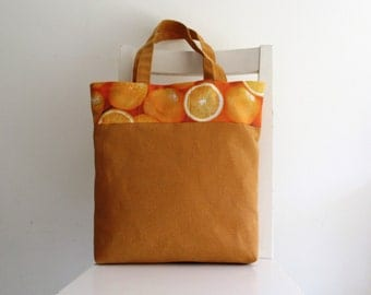 Orange Tote / Shoulder Bag / Beach Bag with Printed Cotton Accent
