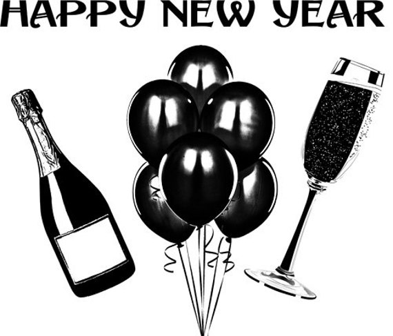 """Happy New Year champagne balloons Digital Image Download art graphics holiday clipart png clip art party celebration 9.4 """" x 11"""""""