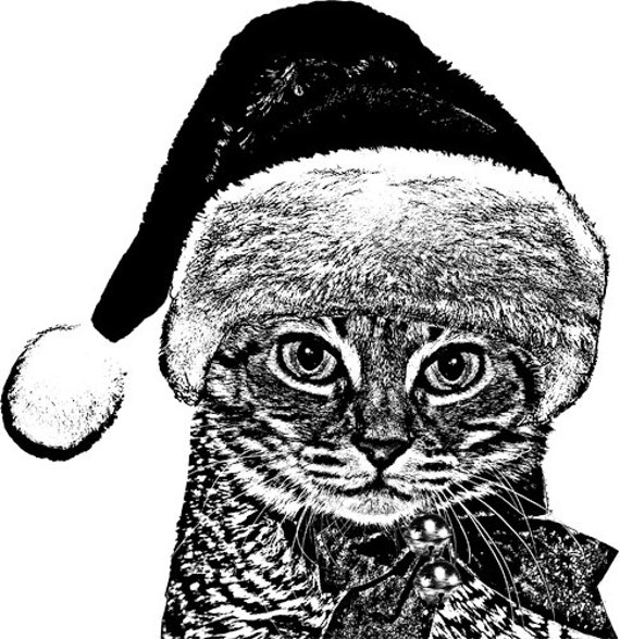 santa CAT wall ART PRINTABLE digital download christmas clipart png clip art Digital image graphics black and white digital stamp