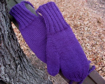 Mittens on String Adult Size Hipster Hand Knit in Deep Purple Wool Seamless Winter Accessory in Unisex Style by Textilesone Ready to Ship