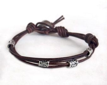 Leather Bracelet - Stackable Layering Bracelet - Summer Bracelet - Sterling Silver Leather Bracelet - Bohemian Jewelry