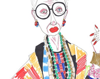 IRIS APFEL Drawing Print / Portrait/ mixed media / advanced style / Groovy Granny / fashion icon /  sizes a4-a3