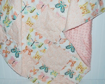 baby girl quilt- pink baby girl quilt- butterfly baby quilt- baby girl bedding--minky baby quilt- coral pink baby quilt- winged baby quilt