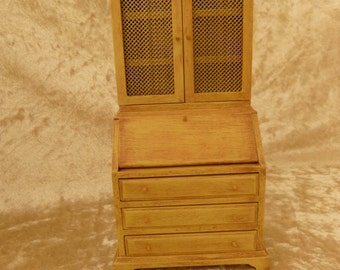 Dollhouse  miniature desk with upper bookcase cabinet