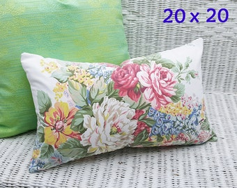 Colorful Shabby Chic Pillow Covers, Cabbage Rose Pillows, 20x20, White Pink Blue Floral Cushions, Repurposed Country Cottage Pillows, NEW