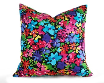 Vibrant Floral Pillow Cover, Cottage Chic Pillow, Colorful Floral Cushion, Girly Pillows, Eclectic Cushion Cover, Boho Dorm Decor 18x18, NEW
