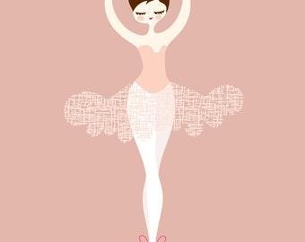 "8X10"" ballerina en pointe giclée print. mauve pink,magenta, dark brunette."