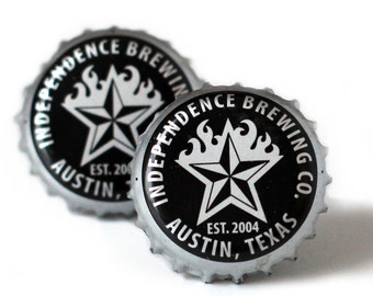 Silver Independence Brewering Beer Bottle Cap Cuff Links Cufflinks