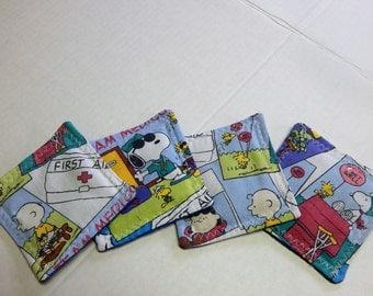 Set of 4 Fabric Drink Coasters Charlie Brown