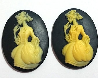2 Pieces 28mm x 38mm Victorian Skeleton Lady Resin Cameo Skull Cameo Skeleton Cabochon