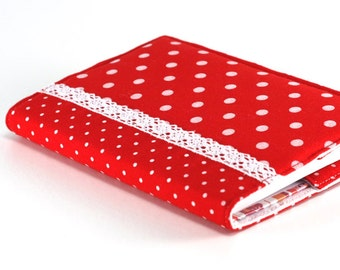 Fabric Journal Cover - Red Polka Dots - Fabric Cover A6 Notebook, Diary - Red and White Lace, Retro 50's Book Cover, Fabric Journal