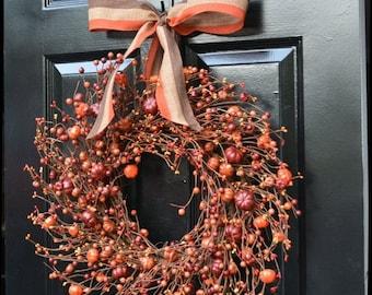 FALL WREATH SALE Pumpkin Pie Fall Wreath,Thanksgiving Wreath Berry Wreath, Fall Decor, Thanksgiving Decor Xl 19, 22 Inch Sizes Available Lim