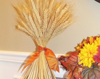 WREATH SALE Fall Decor- Thanksgiving Decoration- Thanksgiving Centerpiece Wheat Sheaf With Ribbon- Mantle Decoration- Fall Decoration- Sale