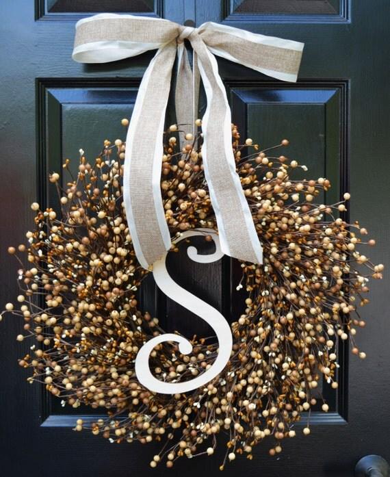 Monogram Wreath- Fall Wreath- Wreaths- Caramel Cream Berries- Indoor Wreath- Autumn Decoration- Fall Decor- Autumn Wreaths- Year Round