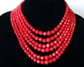 Cherry Red Vintage Six Strand Plastic Faceted Beaded Necklace, ON HOLD for L.