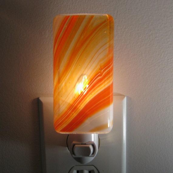 Night light orange and white swirl kitchen or bathroom night for Bathroom night light
