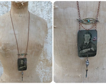 Sagesse Assemblage necklace with Victorian tintype photography  & other Antique pieces