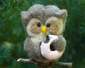 Needle Felted Owl Ornament - Donut