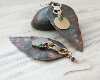 Asymmetrical Tribal Earrings, Large Dagger Earrings, Mixed Metals, Tribal Gypsy, Lightweight