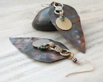 Asymmetrical Tribal Earrings, Large Dagger Earrings, Mixed Metals, Tribal Gypsy, Lightweight