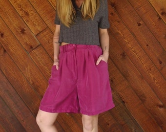 Bright Fuchsia Purple Silk High Waist Shorts - Vintage 90s - MEDIUM