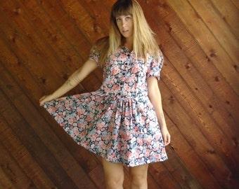 Floral Printed Puff Sleeve Mini Dress - Vintage 80s 90s - M L