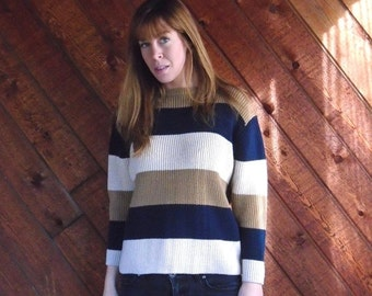 extra 30% off SALE ... Chunky Brown Striped Pullover Sweater- Navy Oatmeal - Vintage 90s - XS S