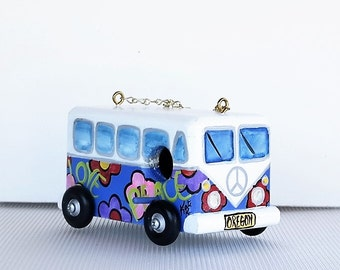 Whimsical Light Blue VW Bird House Hippy Van , Environmentally Friendly ,Hand Crafted . Hand Painted for the Wild Birds