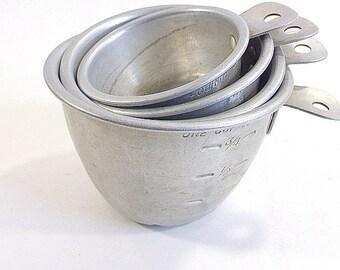 urposeSet of 4 Vintage Aluminum Measuring Cups Vintage Kitchen  1/4, 1/3, 1/2 , 1 cup Measures Retro  Pincushion Base, Favors, Decor