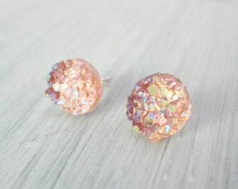 Peach Faux Druzy Stud Earring,  8mm Stud Earring, Peach Cabochon, Peach Druzy Earring, Metallic Earrings, Glitter Stud Earrings / 1f