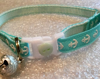 Nautical Cat or Kitten Breakaway Collar - Aqua ribbon with white anchors/girl cat/boy cat